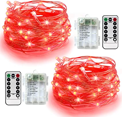Amazon Com Homeleo 2 Set Battery Operated Led Copper String Lights 16 4ft 50 Led 8 Modes Dimmable Fairy Lights With Remote Control Red Garden Outdoor
