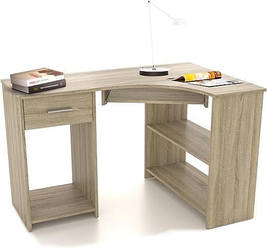 Silvia - Mesa esquinera de escritorio con bandeja para teclado ...