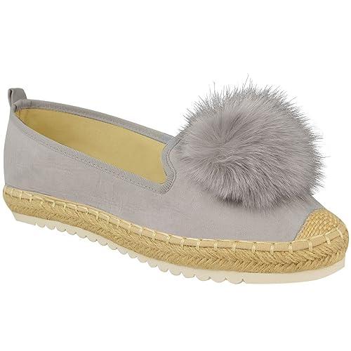 9eb8cc50f Amazon.com | Fashion Thirsty Womens Flat Sneakers Pom Pom Slip On Trainers  Espadrilles Shoes Size | Fashion Sneakers