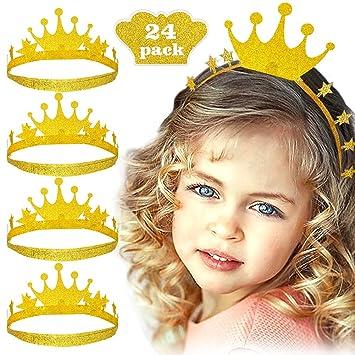 Bascolor 24 Piezas Tiara Fiesta Cumpleaños Gorros Princesa ...