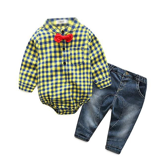 7c072df945171 Amazon.com: Autumn Baby boy Girl Clothes Long Sleeve Rompers Shirts+ ...