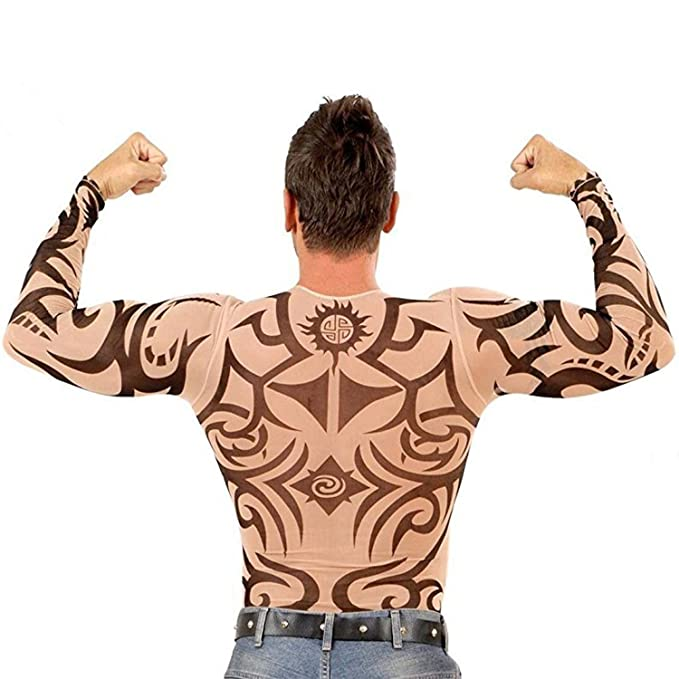 5e947d97 Image Unavailable. Image not available for. Color: ZILucky Men's Tattoo  Tribal Inspired Print Long Sleeve T Shirt ...