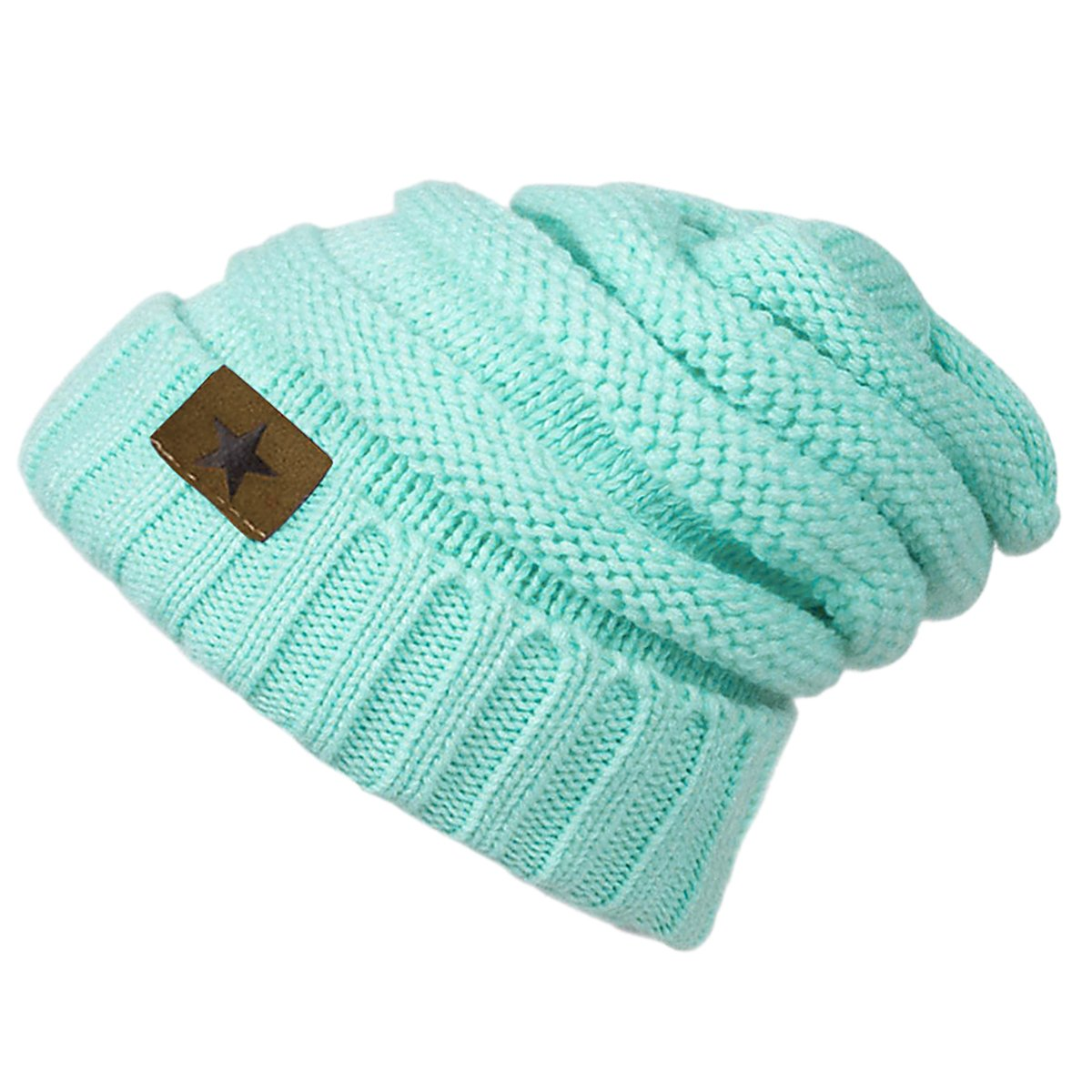 EVRFELAN Soft Winter Warm Knitting Hat Cable Beanie Solid Daily Slouchy Hats Skull Cap (Lake blue2)