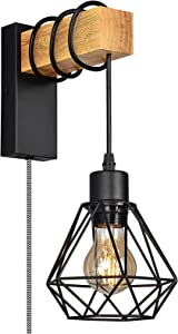 Retro Industrial Plug in Wall Sconce for Bedroom, Wood Hanging Wall Lamp with Cage Lampshade, Mounted Wall Light Fixture for Living Room Kitchen Reading , Modern Vintage Farmhouse Decor (no Bulbs)