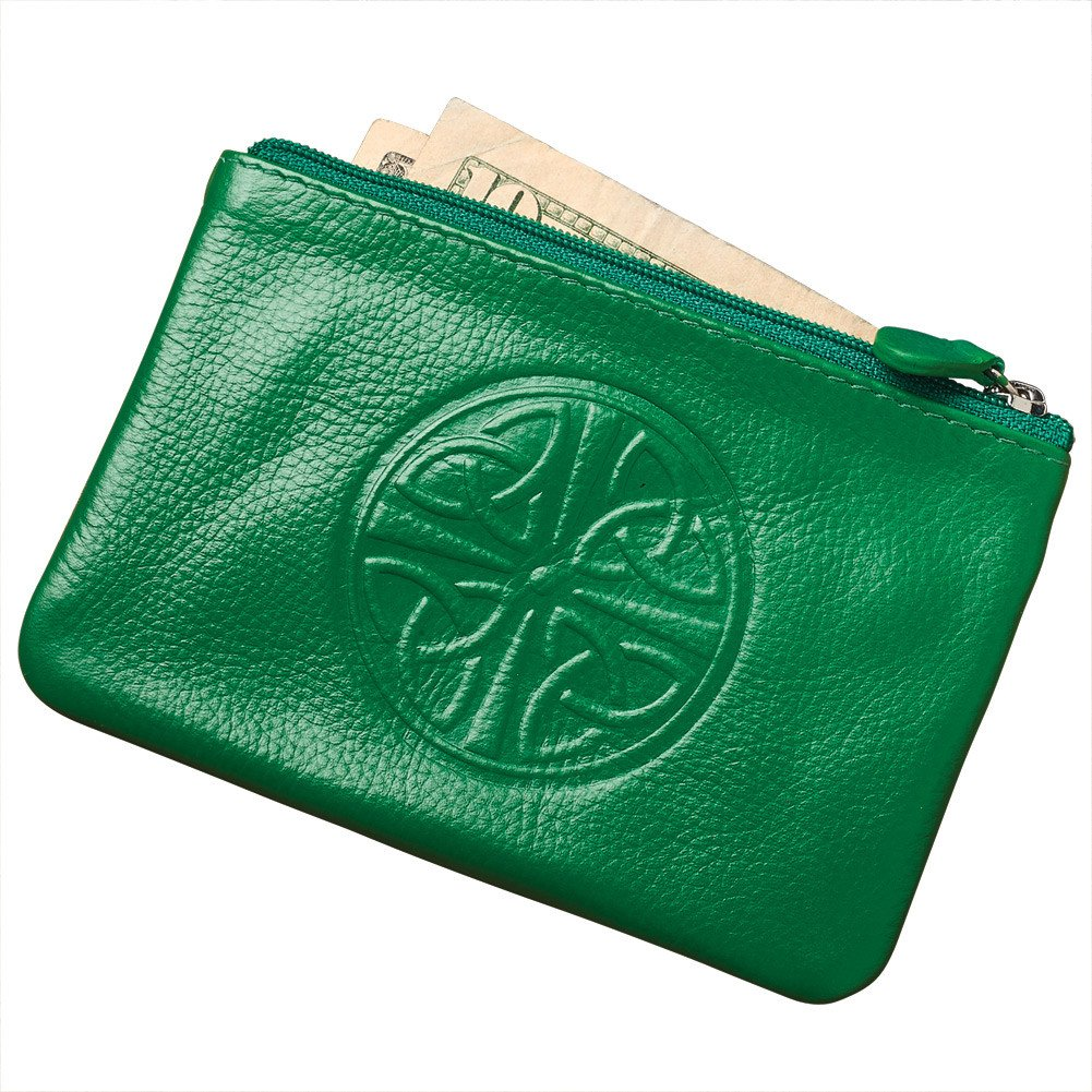 Women's Celtic Knot Coin Purse - RFID Blocking - Leather - 5'' x 3.25'' - Green