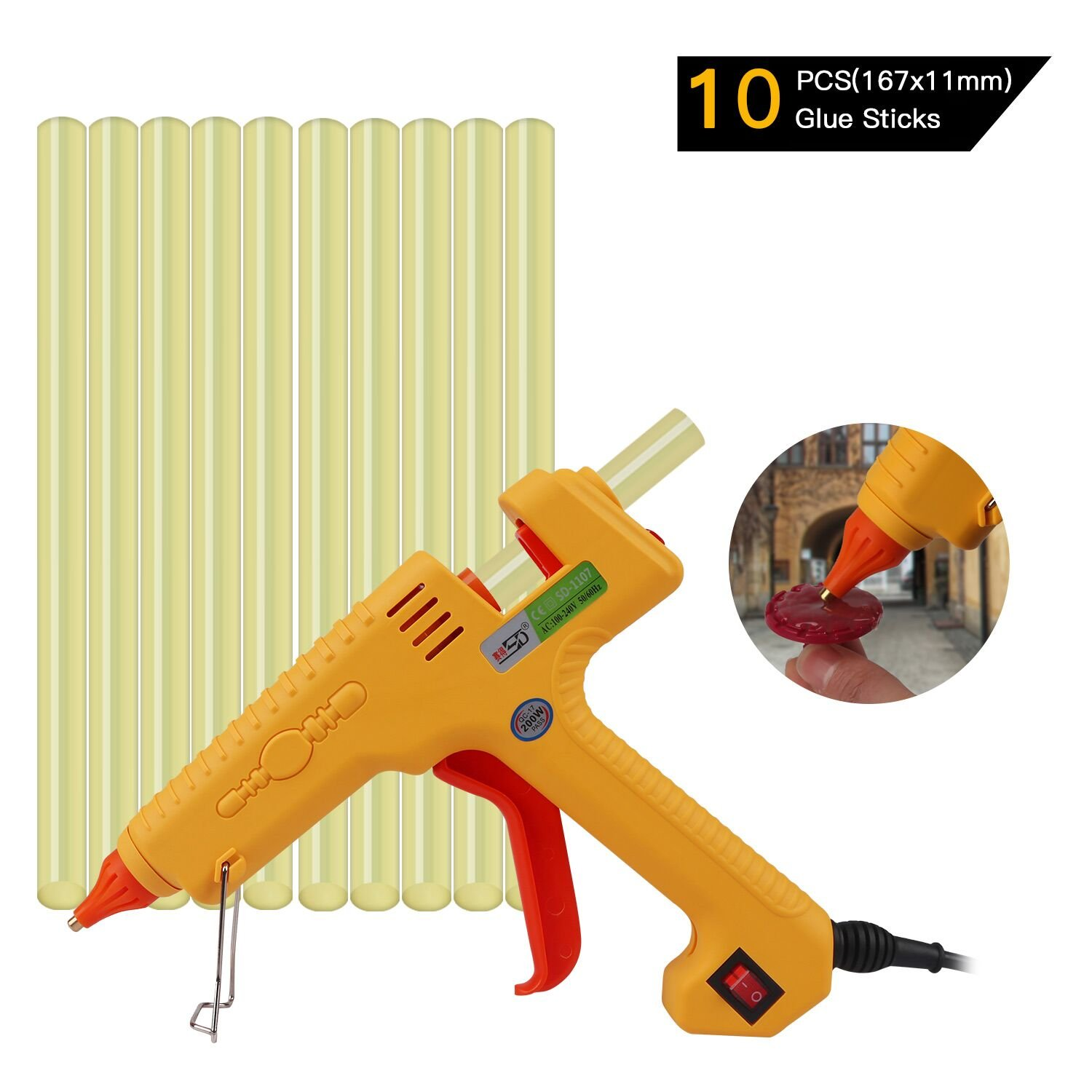 FLY5D 200W Hot Melt PDR Glue Gun With 10pcs Super Sticky Glue Sticks for Auto Metal Dent Puller Repair Home Use DIY For Arts & Crafts & Sealing and Quick Repairs (200W glue gun set) by FLY5D