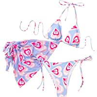 SOLY HUX Women's Tie Dye Wrap Bikini Bathing Suits with Mesh Beach Skirt 3 Piece Swimsuits