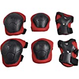 Children 3 in 1 Wrist Elbow Knee Safety Pad Support Gear Black Red