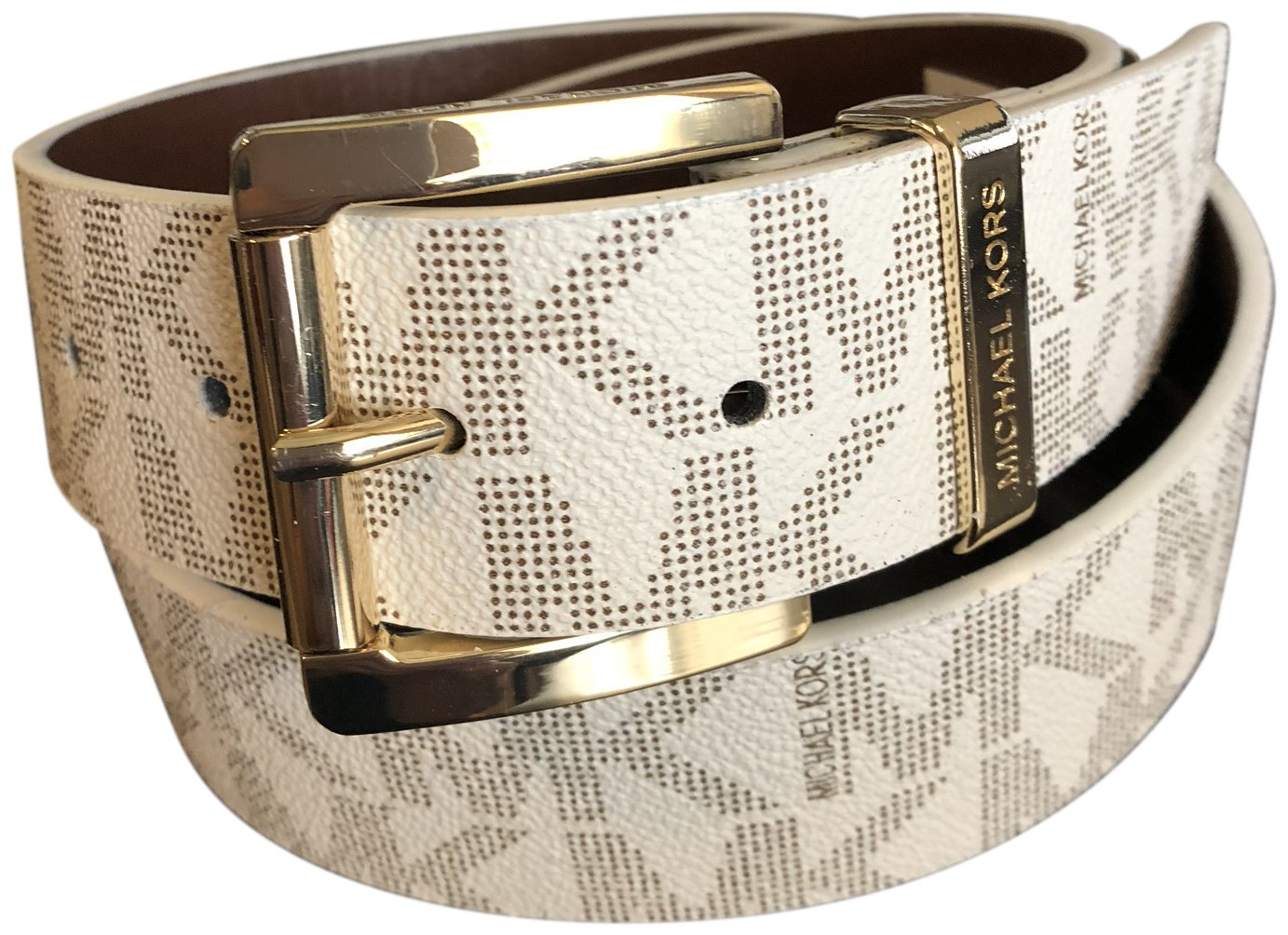 9ac350a32904 ... italy amazon michael kors mk signature monogram logo gold buckle belt  vanilla white brown size small