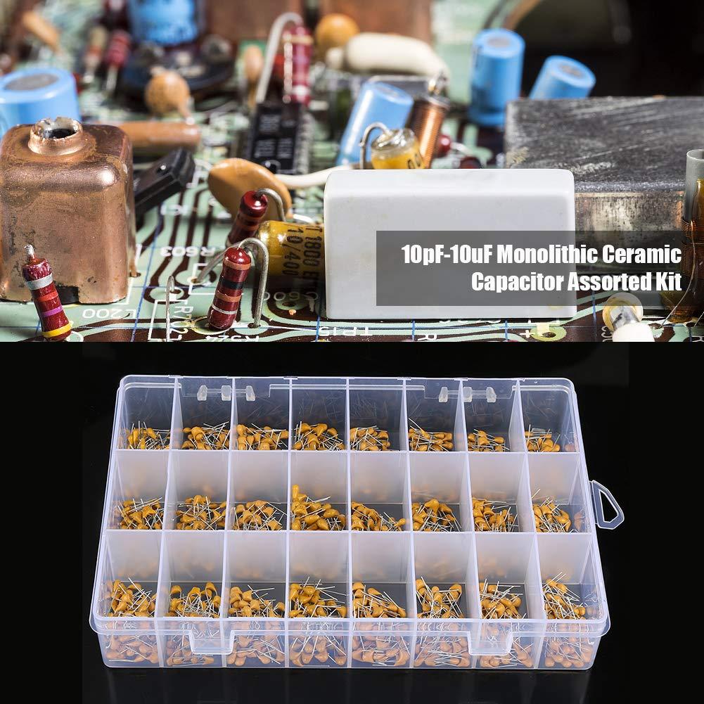 Monolithic Ceramic Chip Capacitors Assortment Kit 1200pcs 24 Values 50V 10pF-10uF High Voltage Ceramic Capacitor Assortment Kit 24 Value