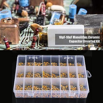 Keramikkondensatoren,10 Werte 50V 10PF-680PF Monolithischer Keramikkondensator Monolithische Keramik Chip Kondensator Set Sortiment Kit mit Box,50 st/ücke jeder typ,500 St/ücke