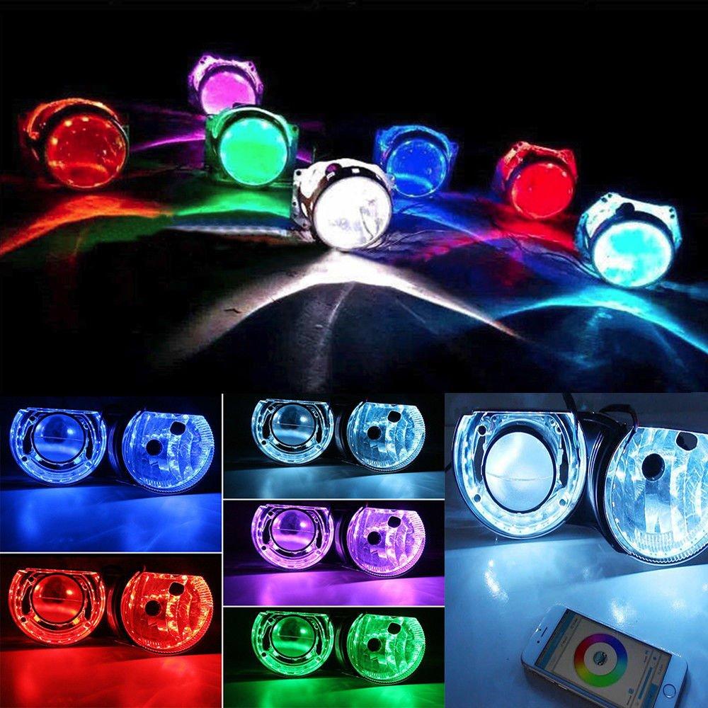 Phare t/él/écommand/é LED RVB /Œil de d/émon pour moto Haichen