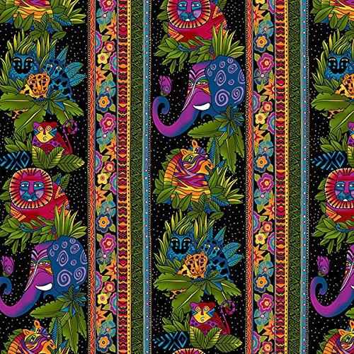 Clothworks Flannel - Clothworks Wild Ones Flannel by Laurel Burch Black Jungle Stripe