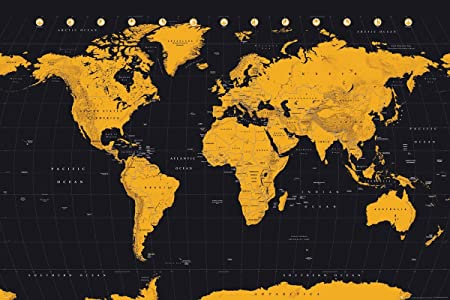 Gb eye world map gold maxi poster multi colour 61 x 915 cm gb eye world map gold maxi poster multi colour 61 x 915 gumiabroncs Gallery