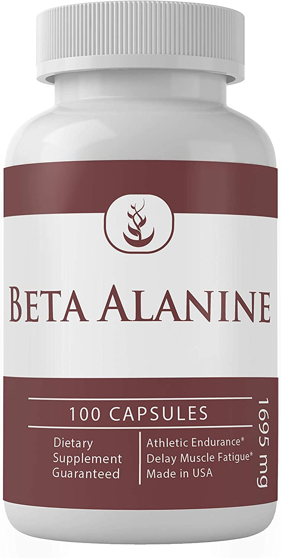 Beta Alanine (100 Capsules, 1695 mg Serving), 100% Pure Non-Essential Amino Acid, Delay Muscle Fatigue, Gluten-Free*