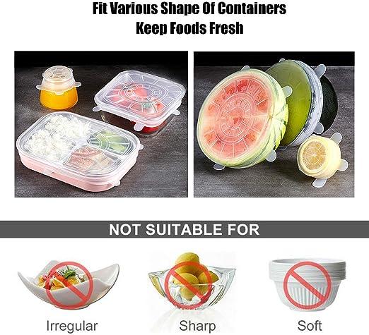 varios tama/ños flexibles y duraderas para ahorro de alimentos 3751 blanco 6 unidades Toomett Tapas de silicona el/ásticas