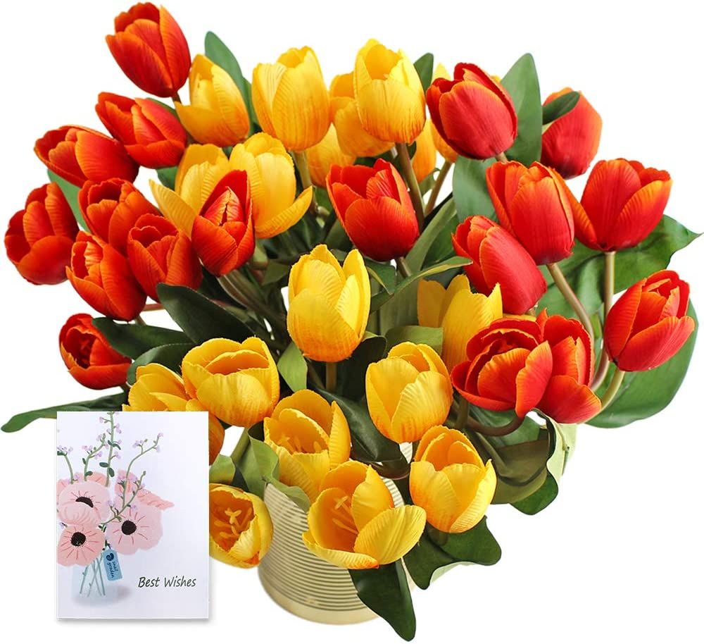 SNAIL GARDEN SnailGarden 4 Pack Tulip Silk 36 Pcs Autumn Artificial Tulip Flowers Bouquet with Greeting Card for Home Room Office Wedding Party Decor ChristmasThanksgiving Gift Red//Yellow