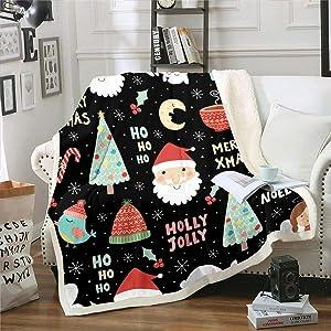 Erosebridal Kids Cartoon Sherpa Blanket Christmas Flannel Blanket Santa Claus Throw Blanket for Child Kids Boys Girls Teens Xmas Tree Bed Blanket for Living Room Dorm Decorative, Black Throw