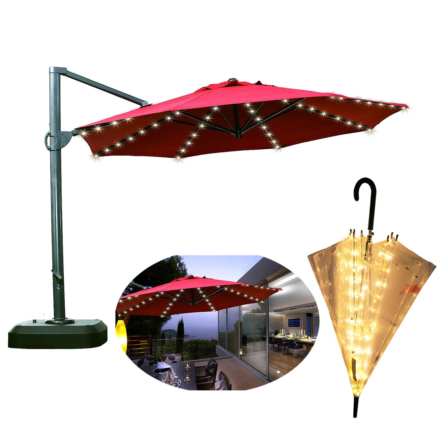 Areskey LED Umbrella Lights,Warm White 8x13LED Starry Lights,Applies to Large Patio Table Umbrella,or Portable Umbrella,Bistro Pergola,Deckyard,Tents,Cafe,Garden,Travel,Beach,Party Decor (only Light)