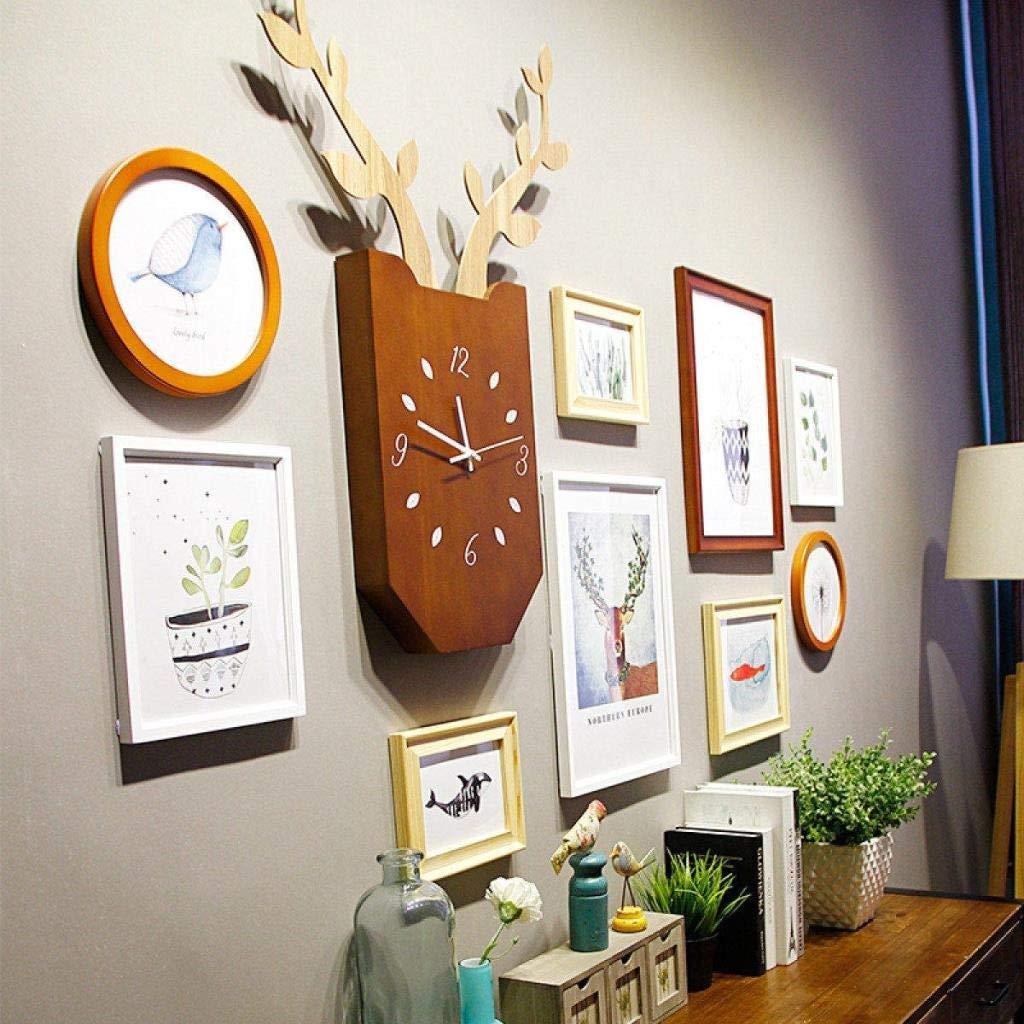 Jjek K Creative Wooden Photo Frame Photo Wall with Electronic Clock Corner Frame Creative Photo Frame Combined Sofa Living Room Background Decoration Wall Area 185x112cm Total 10pcs by Jjek
