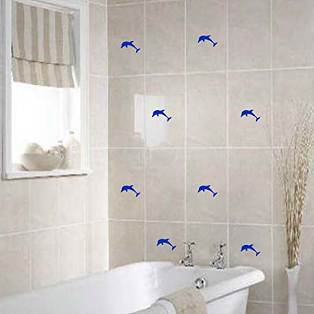 44 Dolphins Size 5cm width Colour Azure Blue Bathroom tiles dolphin  stickers, Tile sticker,