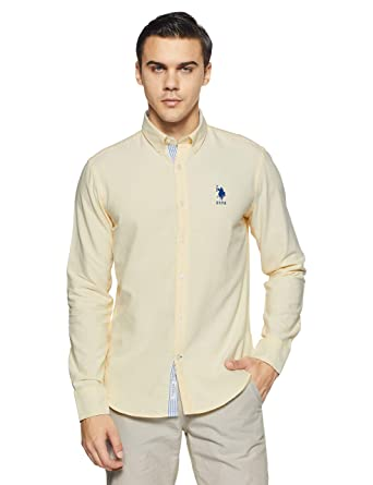US Polo Men's Solid Regular Fit Casual Shirt Men's Casual Shirts at amazon