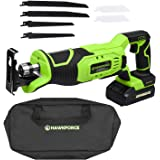 HAWKFORCE 20V Lithium Ion Cordless Reciprocating Saw Kit Variable Speed Trigger with 6 PCS Blades for Wood and Metal Cutting