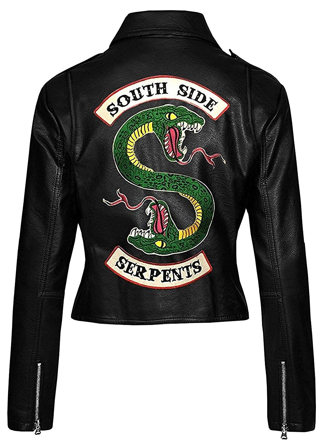 Womens Black Faux Leather Jacket with Snake Gang Logo
