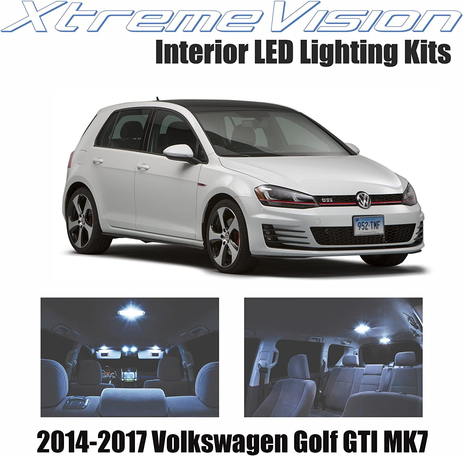 Amazon Com Xtremevision Interior Led For Volkswagen Golf Gti Mk7 2014 2017 8 Pieces Cool White Interior Led Kit Installation Tool Automotive
