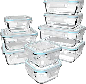 18 Piece Glass Food Storage Containers with Lids, Glass Meal Prep Containers, Glass Containers for Food Storage with Lids, BPA Free & FDA Approved & Leak Proof (9 lids & 9 Containers)