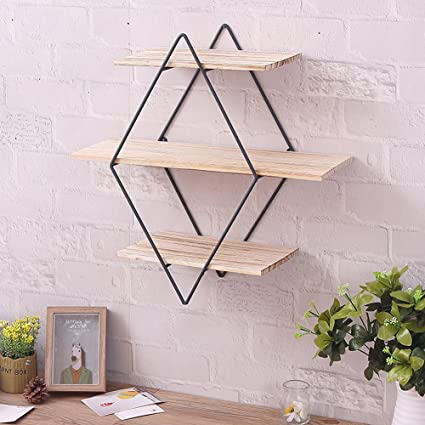 Amazon Com Cheerfullus Iron Wall Shelves Brackets Art Wooden Wall Bookshelf Metal Wall Rack With Vintage Wood Storage Holder Diamond Home Kitchen