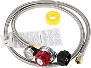 Aupoko 0-30 PSI High Pressure Adjustable Propane Regulator with Stainless Steel Braided Hose& Gauge, 60'' Hose QCC1/Type1 to 3/8