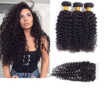 3/4 Bundles With Closure By Mongolian Afro Kinky Wave Human Hair Extensions With Closure 3 Bundles With Closure Remy Hair Natural Black 8-20inch Strong Packing