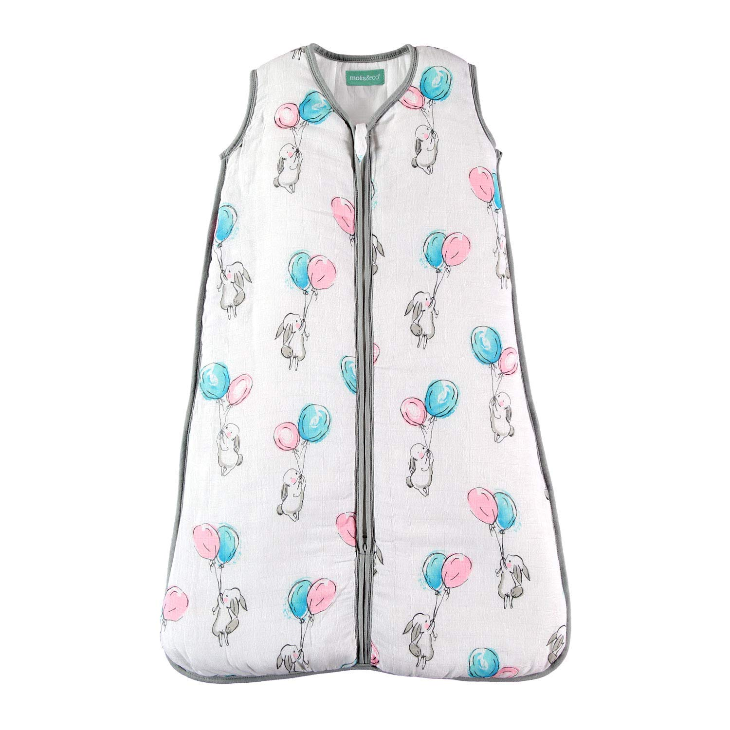 """molis&co Premium Muslin Baby Sleeping Bag and Sack, 2.5 TOG,Super Soft and Warm Unisex Wearable Blanket, 18-36 Months. 35.8"""", Ideal for Winter. Unisex Bunny and Balloons Print in Blue & Pink."""
