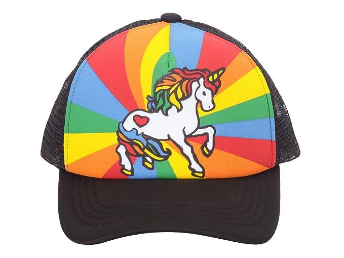 d672754fb36 Unicorn Mesh Trucker Hat - Black w Rainbow at Amazon Men s Clothing ...