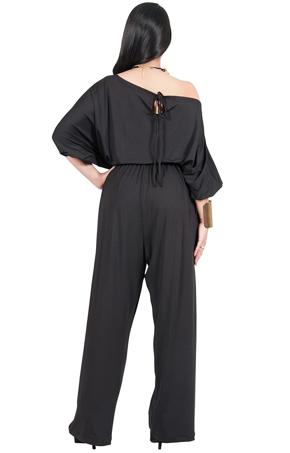 8a3ead868c3 Amazon.com  Adelyn   Vivian Plus Size Womens Sexy One Shoulder 3 4 Sleeve  Evening Jumpsuit  Clothing