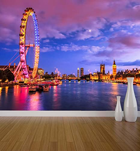 London Twilight Wall Mural Photo Wallpaper Iconic View Skyline Neon Lights X Large 1900mm X 1488mm