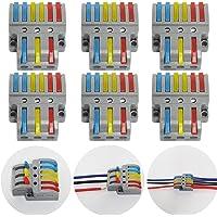 CTRICALVER Lever-Nut Surtidas Conector Paquete de 6, Bloque de Terminales de Barra de Presión Bilateral, 3 en 6 fuera…