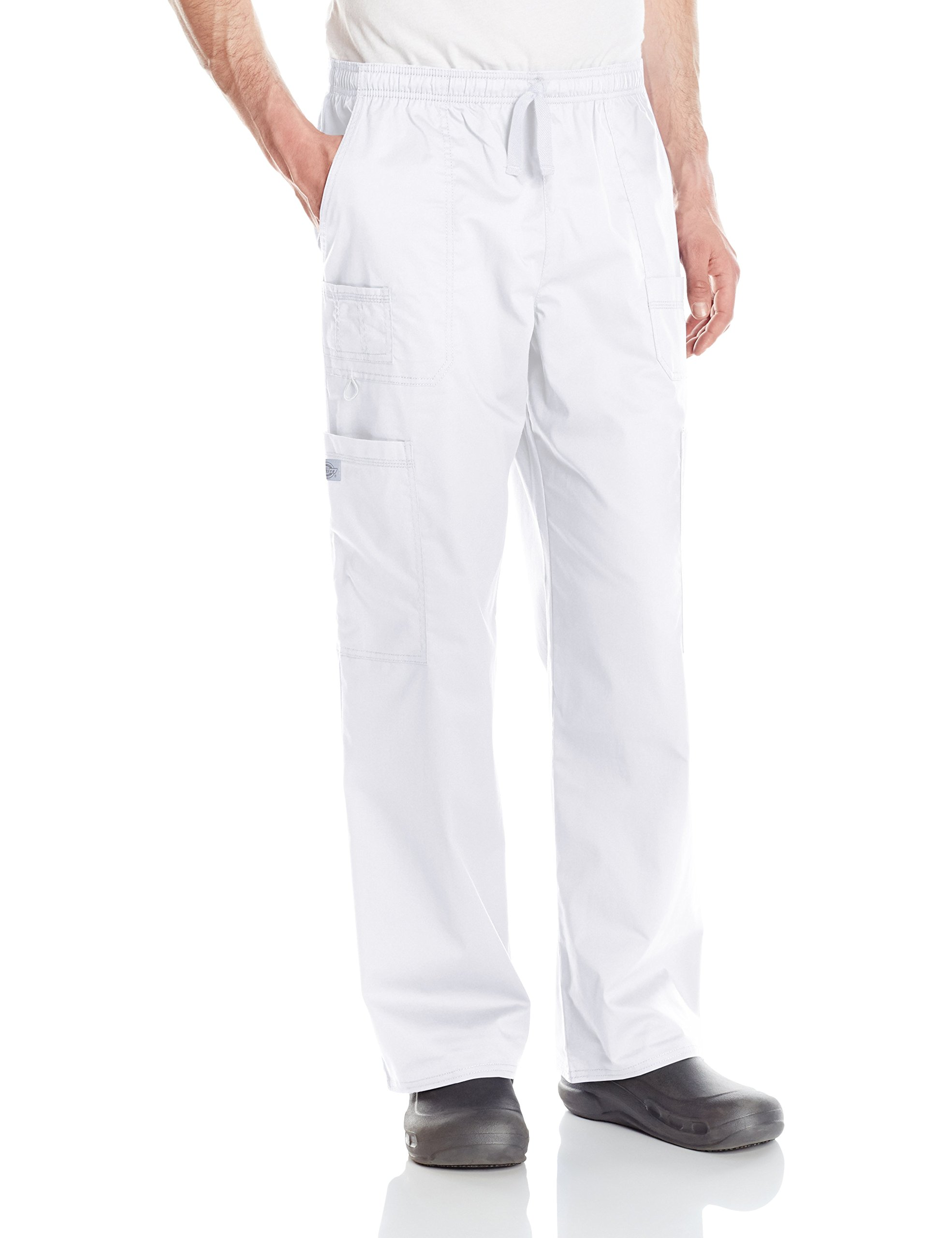 Dickies Men's GenFlex Utility Drawstring Cargo Scrubs Pant, White, X-Large by Dickies