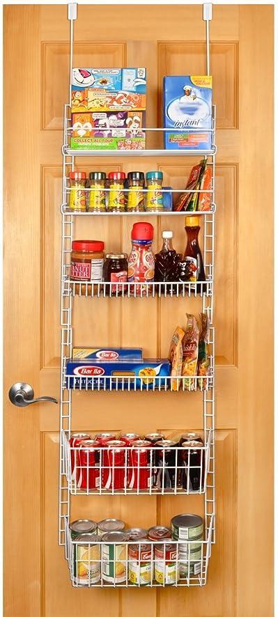 PRO MART DAZZ Deluxe Over The Door Adjustable Pantry Organizer Rack, 6  Shelves,