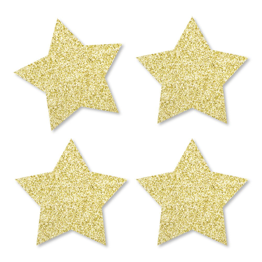 Gold Glitter Star - No-Mess Real Gold Glitter Cut-Outs - Labor Day Confetti - Set of 24