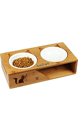 LePet Premium Elevated Pet Feeder with Two Ceramic Bowls