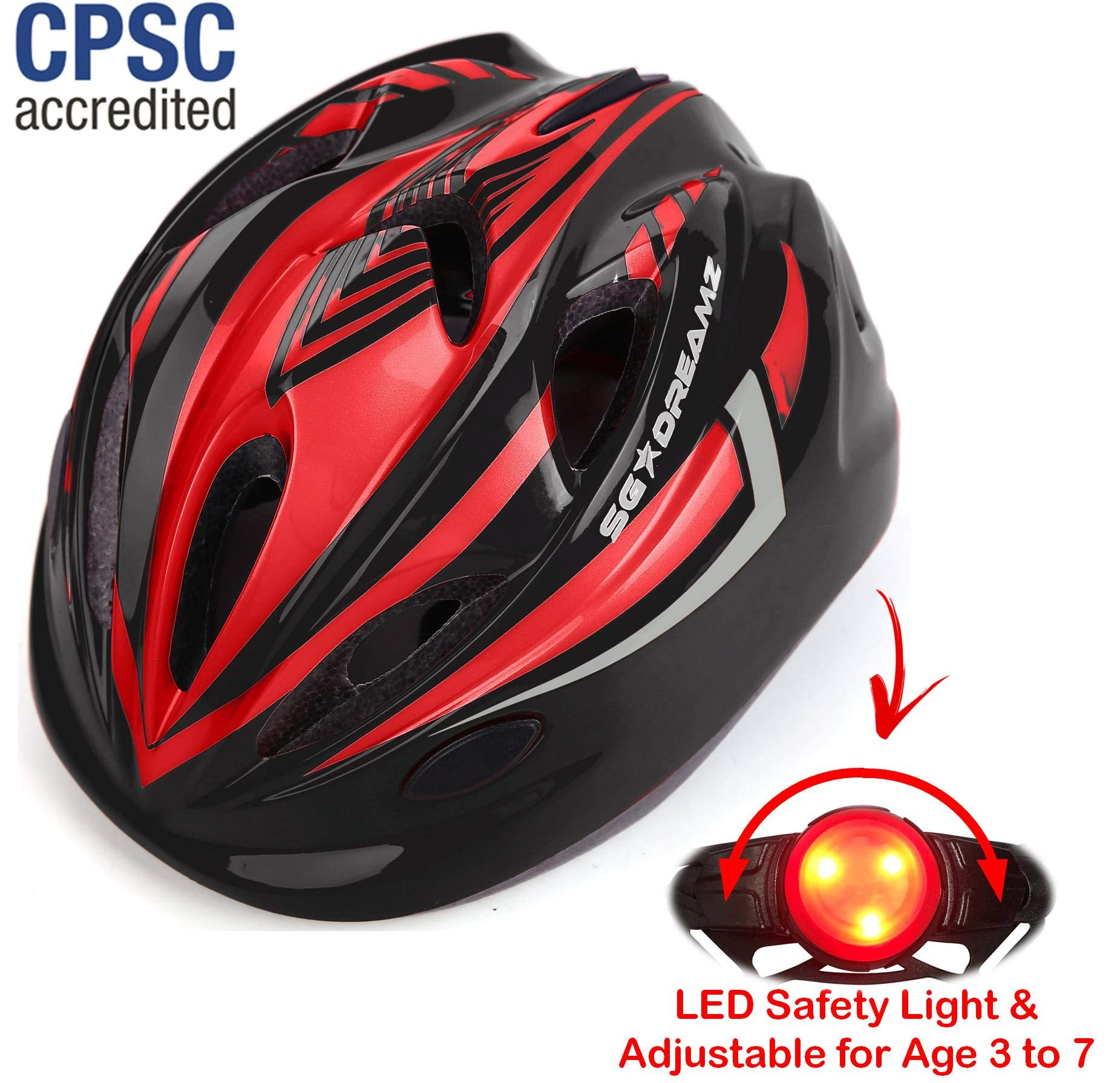 KIDS Helmet - Adjustable from Toddler to Youth Size, Ages 3 To 7 - Durable Kid Bicycle Helmets with Fun Racing Design Boys and Girls will LOVE - CSPC Certified for Safety (K12-1LightBlackRed)