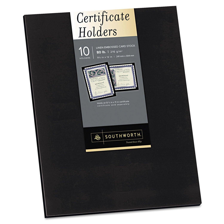 Southworth PF18 Certificate Holder, Black, 105lb Linen Stock, 12 x 9 1/2, 10/Pack