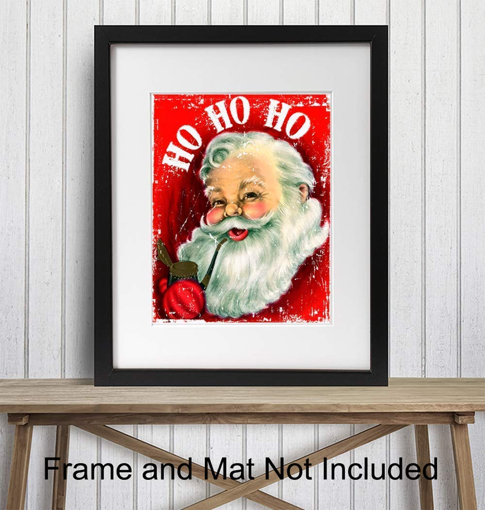 Vintage Holiday Wall Art Poster Rustic Shabby Chic Farmhouse Home Decoration for Xmas 8x10 Photo Unframed Christmas Decor Art Print Ho Ho Ho Santa Makes a Great Inexpensive Gift
