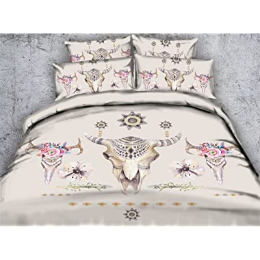 Newrara 3D Bedding Set 3D Cow Skulls Digital Printed Cotton 4-Piece Bedclothes Bed Sheet Bedding Sets/Duvet Cover Sets,Not Include comforter (Beige, Queen)