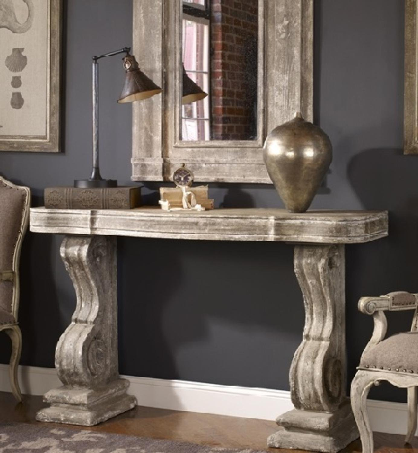 60'' Alexiares Old World Italian Rectangular Console Table with Aged Stone Gray Finish