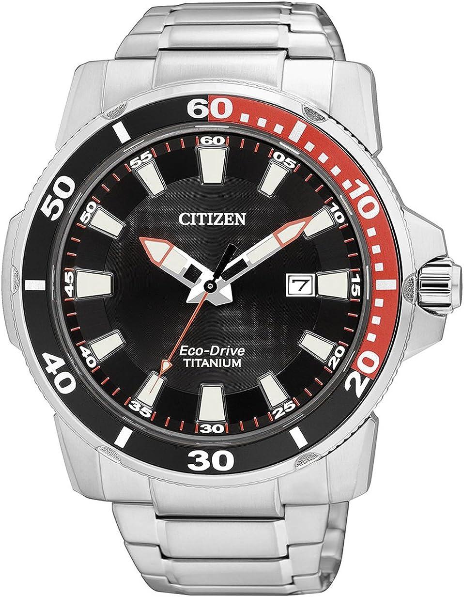 Citizen AW1221-51E - Reloj analógico de Cuarzo para Hombre, Correa de Titanio Multicolor