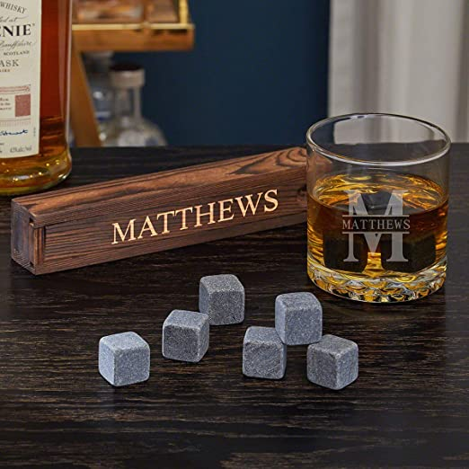 Amazon Com Oakmont Personalized Whiskey Glass Stone 9 Piece Gift Set By Home Wet Bar For Whiskey Bourbon Or Scotch Lovers Old Fashioned Glasses