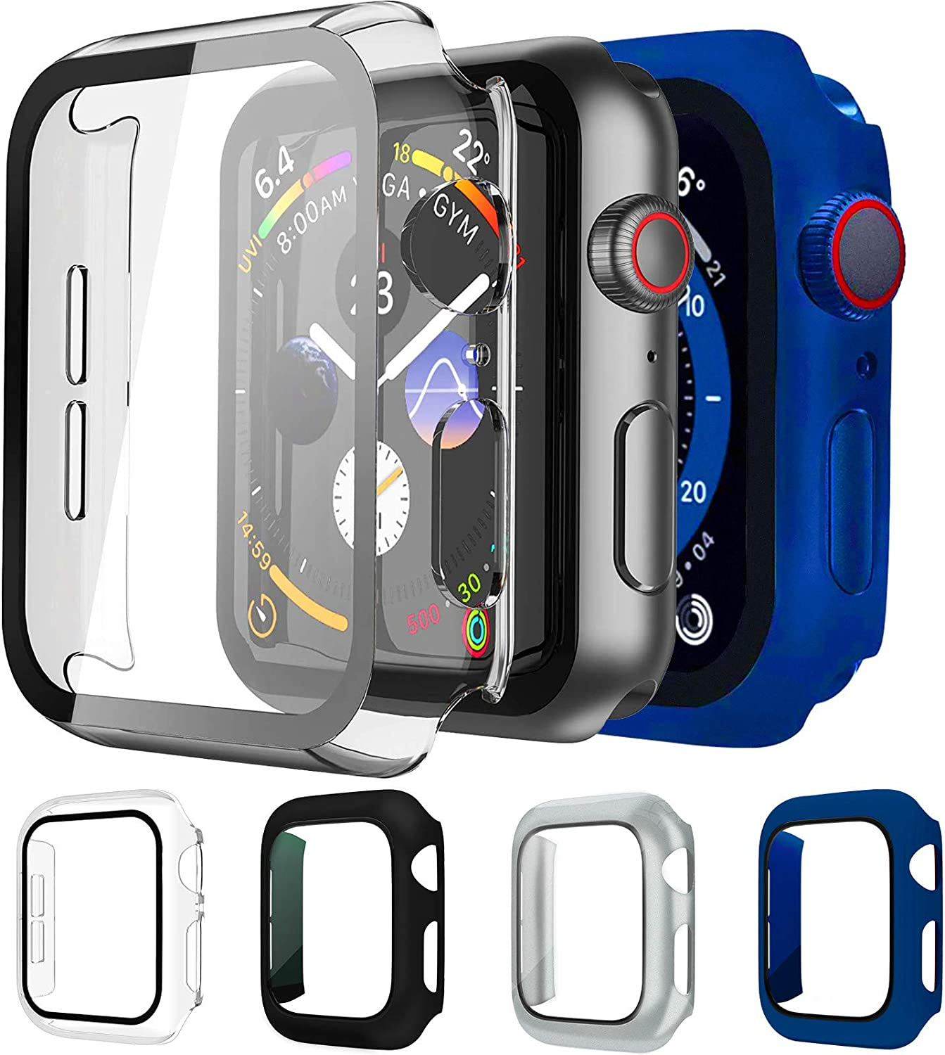 Mocodi 4-Pack Apple Watch Case 44mm with Built in PC Tempered Glass Screen Protector,Slim Bumper Accessories for Apple Watch Series 4 & 5 & 6 and Apple Watch SE 44mm(Black+Silver+Clear+Midnight Blue)